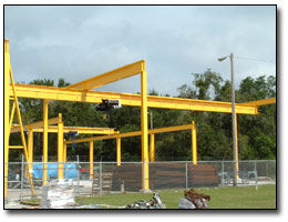Monorail system for re-bar fabrication yard